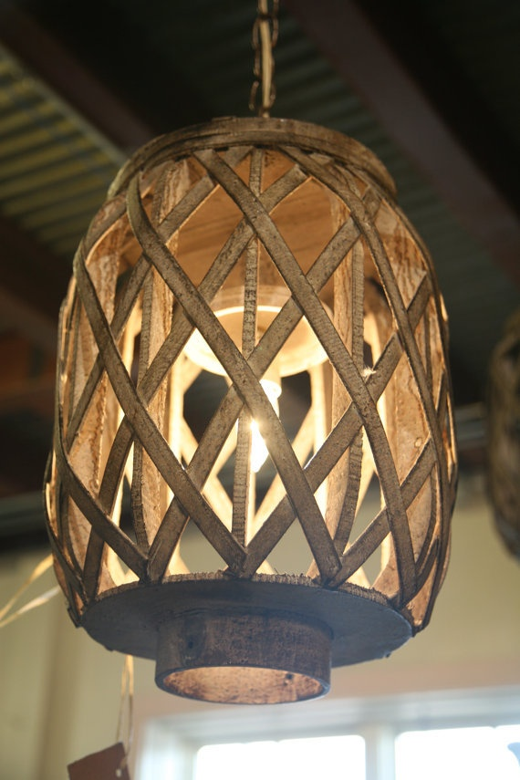 Distressed Wooden Lantern Light Fixture