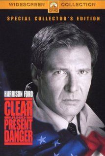 """""""Clear and Present Danger"""" (1994).  CIA Analyst Jack Ryan is drawn into an illegal war fought by the US government against a Colombian drug cartel.  A great political thriller, with Harrison Ford."""