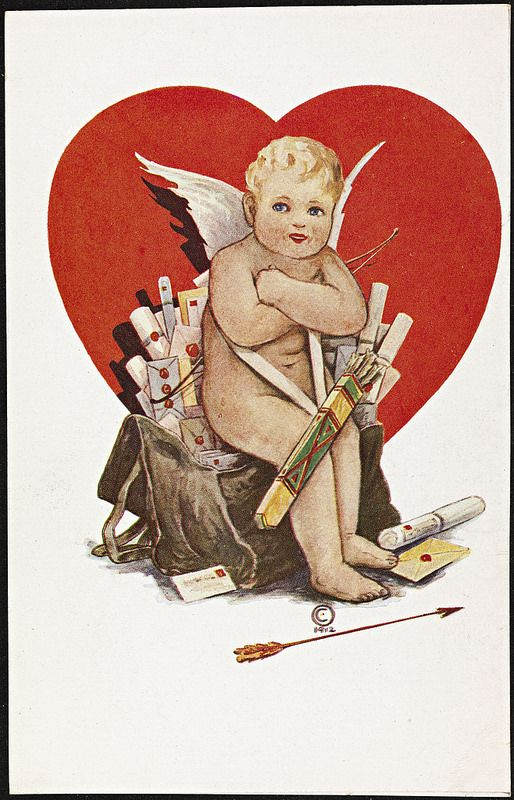 Cupido sittende på veske med kjærlighetsbrev, 1912