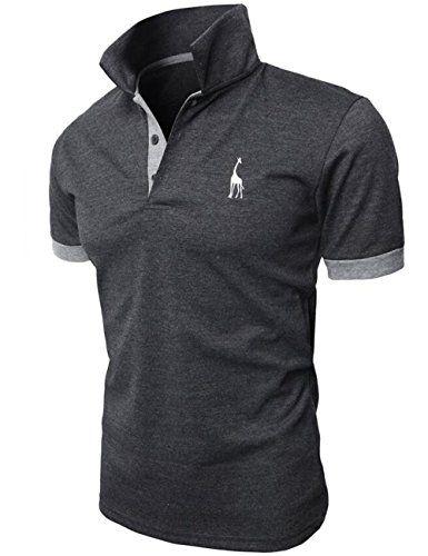 Super oferta en Hombre de manga corta polo Contraste Collar Polo Camisa Golf de tenis Camiseta Jirafa Glestore gris L descubre este y muchos otros chollos en loco de ofertas, te traemos a diario los mejores descuentos