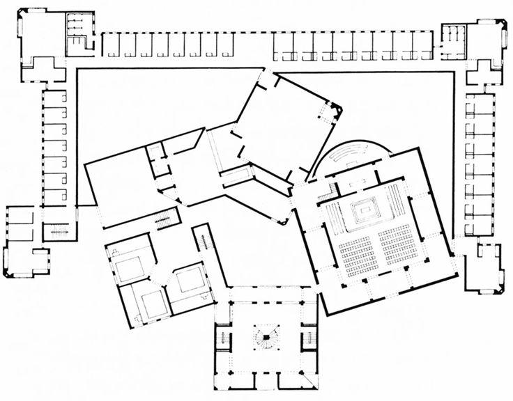 Louis I. Kahn, Dominican Sisters' Convent, First Floor Plan, Media, Pennsylvania, 1965-1968