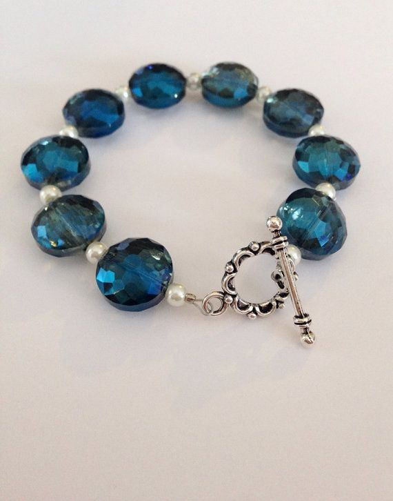 Blue/Green/Turquoise Iridescent Bead Bracelet by MeadowlarkBlossom, Use Coupon Code BLOSSOM10 for 10% off of your MeadowlarkBlossom Etsy order!