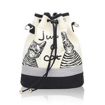 #Banggood Сумки холст кошка ведро женщины шнурок рюкзак случайные сумки плеча мешки Crossbody (995277) #SuperDeals