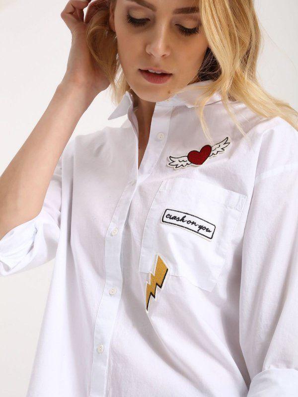 Damska koszula Top Secret z kolekcji wiosna 2017 white shirt biała koszula naszywki