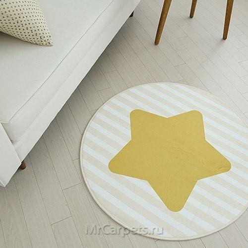 Желтый круглый ковер со звездой Starlin