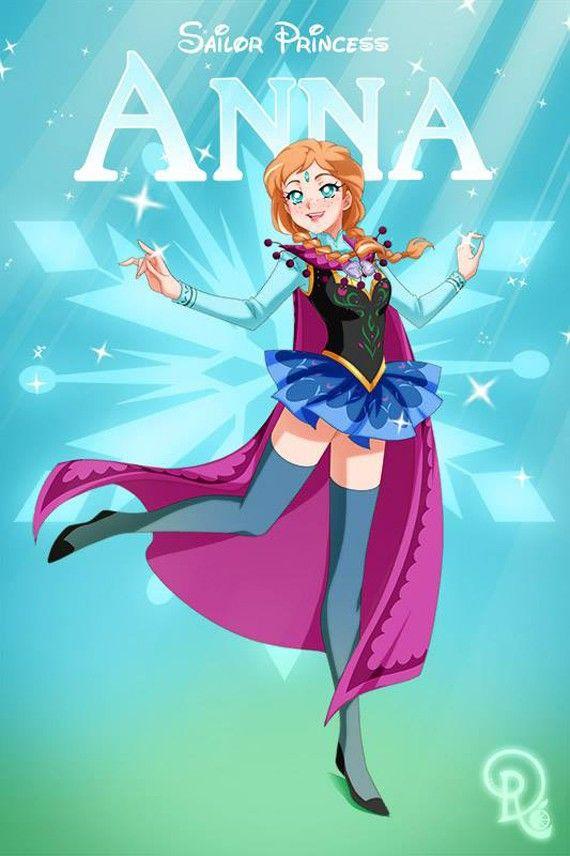 Les personnages féminins de Disney en mode Sailor Moon - Anna