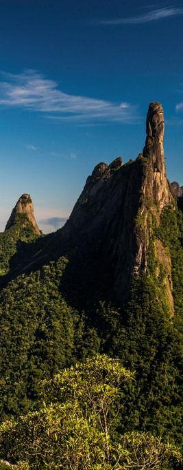 """finger of god"" - petrópolis - rio de janeiro - iconic silhouette of the serra dos órgãos, the trip to which is a popular trek for medium and advanced hikers and rock-climbers in brazil"
