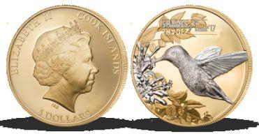 Dechberoucí detaily na minci z ryzího stříbra - Kolibřík