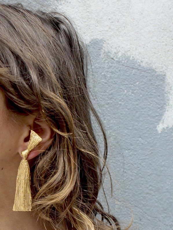 Mirit Weinstock gold plated raffia earrings