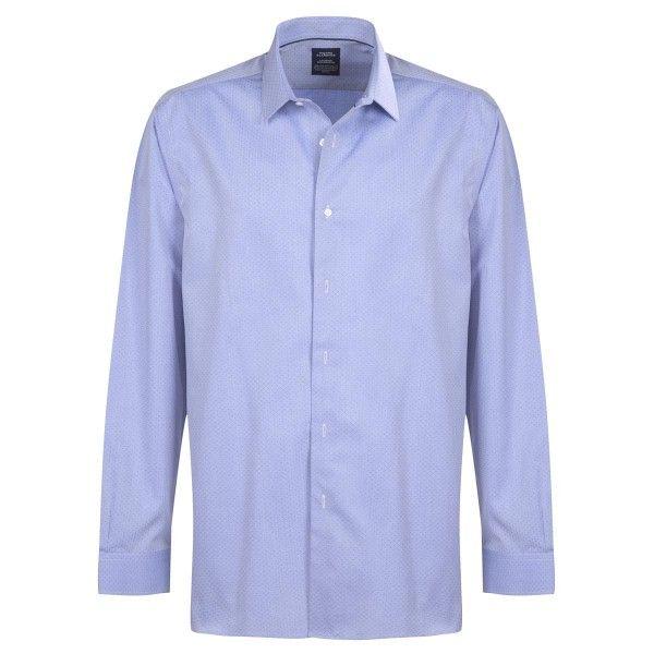 Chemise sans repassage droite tissée point pois col semi-italien Bleu ciel - Pierre Clarence
