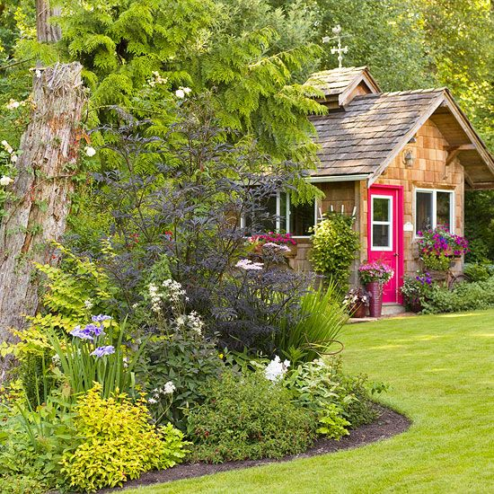So many things we love about this garden! Get 12 secrets to designing your own flower garden: http://www.bhg.com/gardening/design/styles/successful-flower-garden-design/?socsrc=bhgpin062112gardendesign: Red Doors, Flowers Gardens, Gardens Ideas, The Doors, Cottages Gardens, Cottages Landscape Ideas, Gardens Design, Design Style, Gardens Cottages