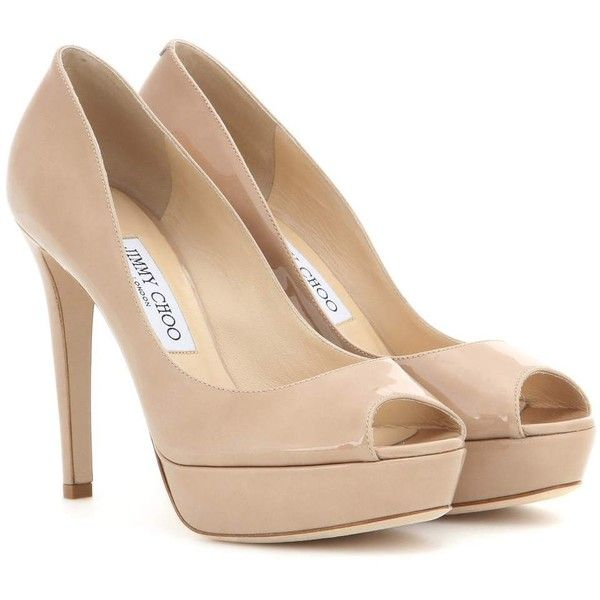 Jimmy Choo Dahlia Patent Leather Peep-Toe Pumps ($620) ❤ liked on Polyvore featuring shoes, pumps, heels, beige, heel pump, jimmy choo, beige pumps, beige patent pumps and peep toe pumps