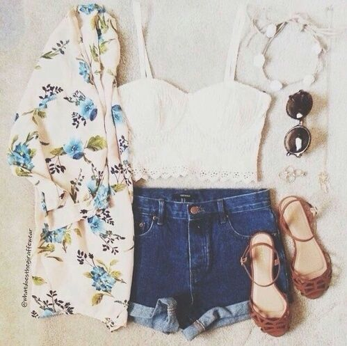 cardigan, clothes, clothing, crop top, cute, denim, fashion, fashon, floral, girl, kimono, lace top, look, ootd, outfit, sandals, shades, shoes, shorts, style, styling, summer, summer outfit, sunglasses, sunnies