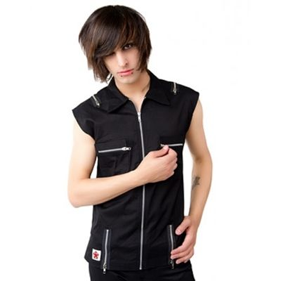 Sleeveless vest made from stretch drill cotton. Ideal for clubwear and looks good worn as street wear with a slight edge.