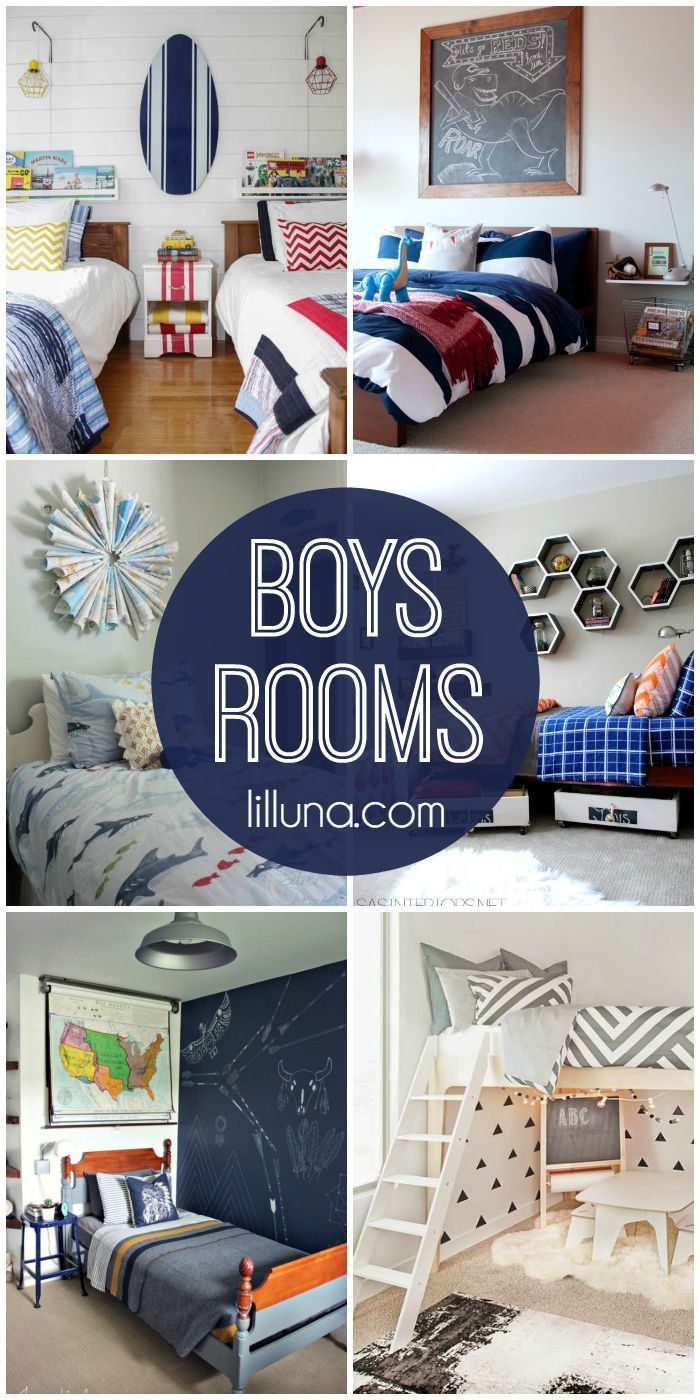 A roundup of lots of great boys rooms designs. See it on { lilluna.com }!