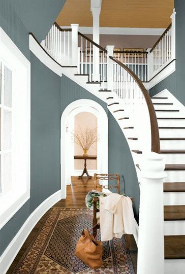 benjamin moore knoxville gray- @ToWall Colors, Living Room, White Trim, Colors Schemes, Paint Colors, Painting Colors, Staircas, Benjamin Moore, Moore Painting