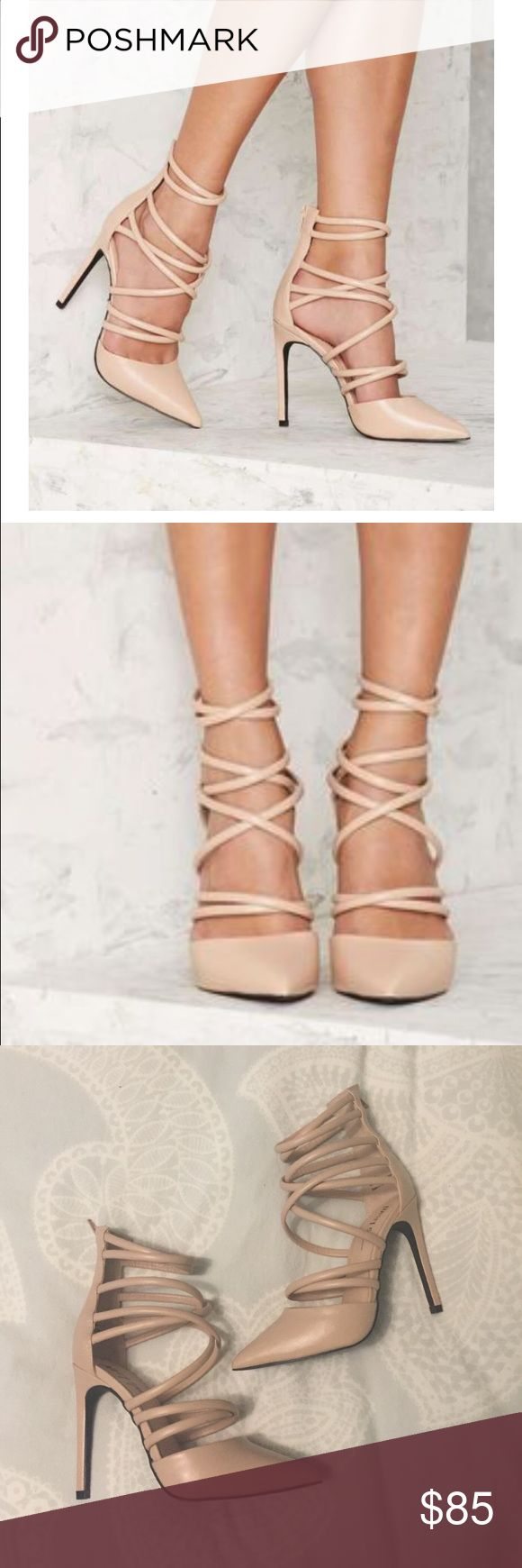 Nasty Gal Cecily Strappy Heel - Nude Super cute nude strappy high heels from Nasty Gal - SIZE 6 (which is sold out on their website) Vegan leather, features a pointed toe, stiletto heel, thick strap detail at front, covered heel, and enclosed zipper at back. *never worn!* Nasty Gal Shoes Heels