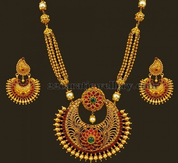 Jewellery Designs: Antique Gold Balls Long Set