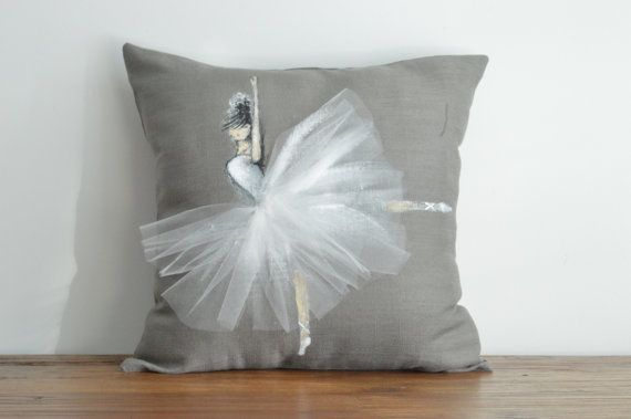 "Ballerina Cushion - Hand painted cushion Cover fits 16""x16"" Insert , Decorative Throw Pillow Cover Cushion Accent Pillow Fashion"