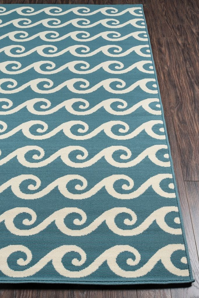 Blue Baja Waves Area Rug With Images Colorful Rugs Rugs Area
