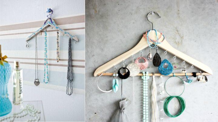Reciclar perchas viejas - colgar joyas