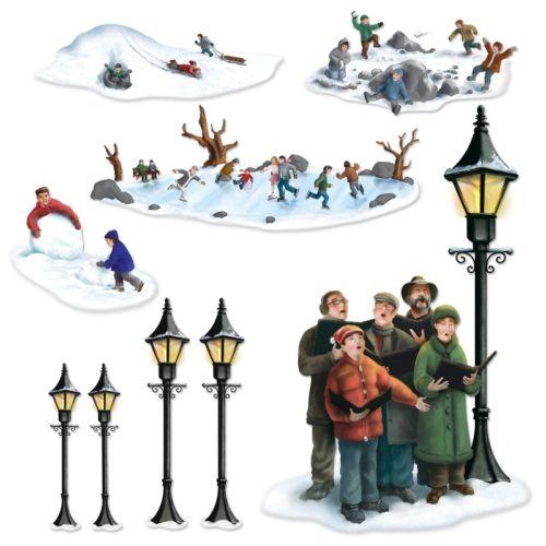 Lampposts Carolers Winter Fun Props Christmas Scene Setter Decorations | eBay