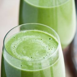 Have to try...Pure2raw: Spicy Savory Green Smoothie        3 cups water      1 avocado      1 small orange beet      1 small cucumber      4-6 stalks of collard greens      juice of one lemon      splash of vanilla extract      inch of fresh ginger      1/2 jalapeno pepper*    *this will vary depending on your own personal tolerance of heat    Blend everything up in blender till creamy.