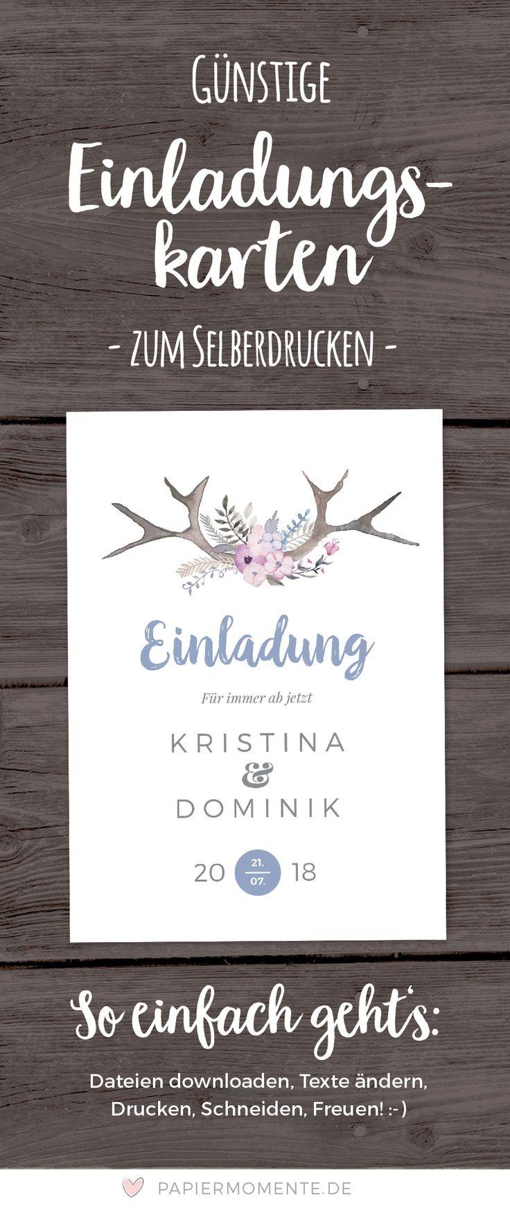 Günstige Einladungskarte Für Eure Hochzeit Im Boho Antler Stil. Perfekt Für  Eine Scheunenhochzeit Oder Hochzeit Im Freien. Zum Selberdrucken.