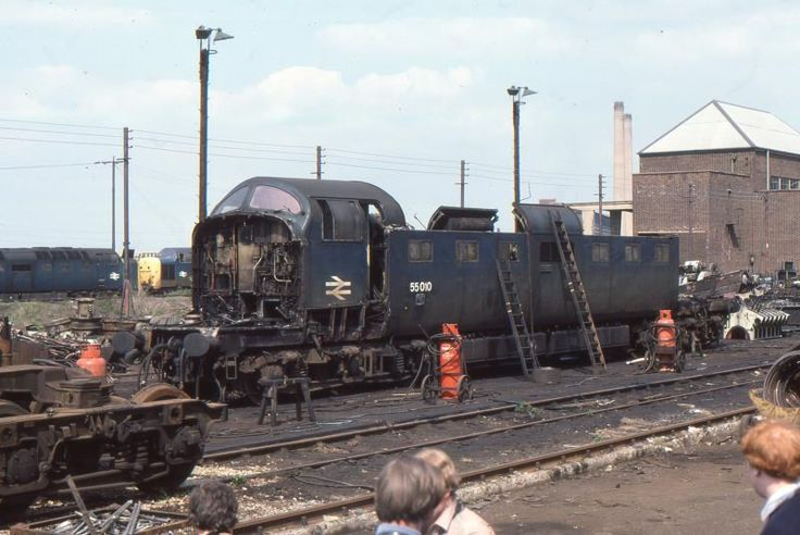 55010 'Kings Own Scottish Borderer' at Doncaster Works in a very sorry state on 9th May 1982. (Robert Peach)