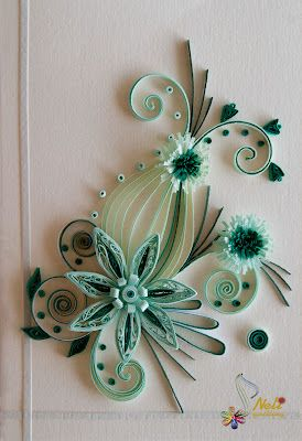 green Quilling cards-flowers