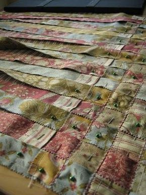 Woven quilt. Way easier than little squares! (and it wont come apart over time). Genius!
