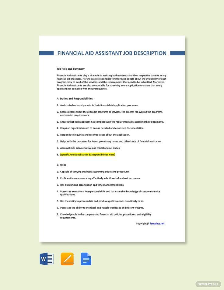 Free Financial Aid Assistant Job Description Template in