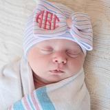 Monogramed Traditional Nursery Striped Big Bow Newborn GIRL hospital hat