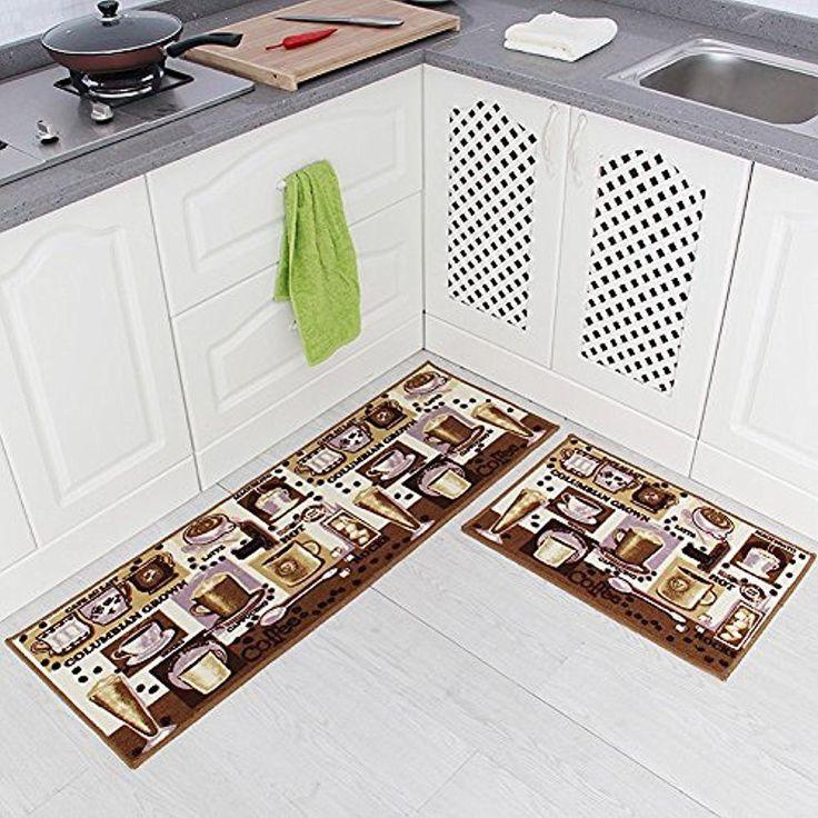 Carvapet 2 Pcs Kitchen Runner Rug Mat Rubber Non Slip Backing Door Floor Set