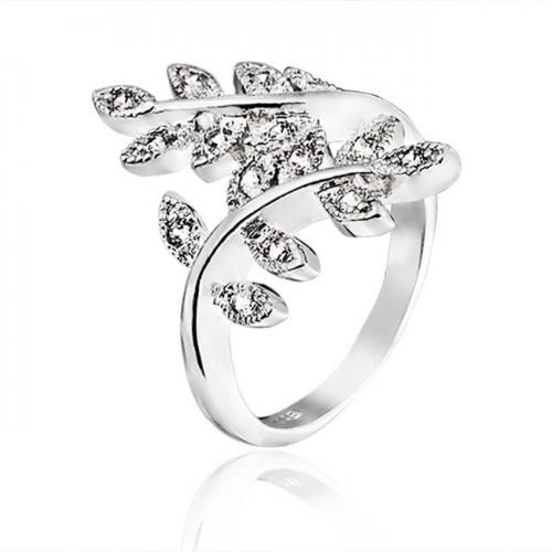 Bling Jewelry Silver Tone Pave CZ Ivy Leaf Vine Ring Vintage Style