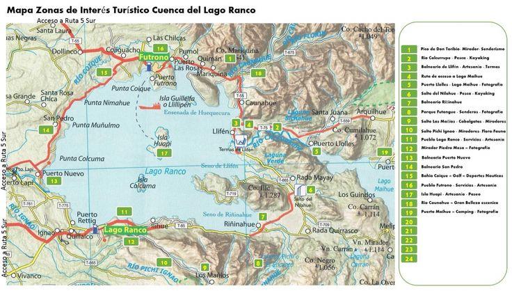 Mapa Zonas de Interes turistico, atractivos y paseos de la Cuenca del Lago Ranco. Poblados de Futrono, Llifén, Ignao, Futangue, Maihue, Coique.
