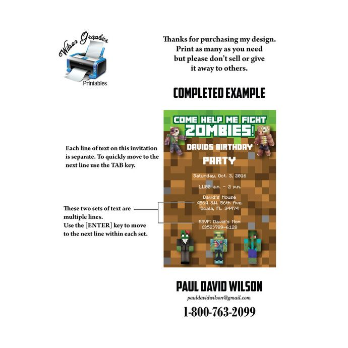 50 best minecraft images on pinterest minecraft stuff birthdays 5 x 7 come help me fight zombies diy mine themed party invitation fillable pdf stopboris Choice Image