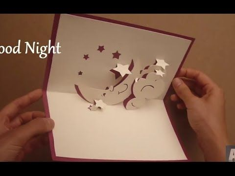 How To Make A Good Night Pop Up Card, Moon Hug Pop-up Card Tutorial - YouTube