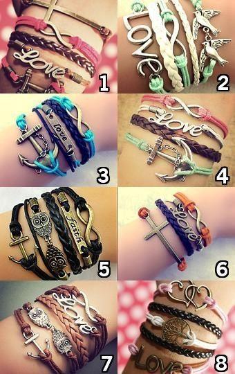 Cute Infinity Charm Bracelets, Boho Bracelet, Bohemian Jewelry [pbr005] - $3.99 : Lowest price, shop at http://costwe.com/anchor-leather-bracelets-c-65_102.html