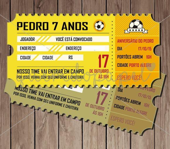 Arte Digital de Convite Ingresso de Futebol (frente e verso). Festa futebol. Convite Ticket. Convite ingresso.