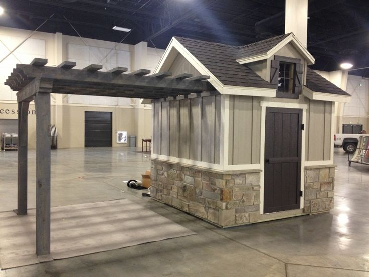 I'd like a storage shed, with a separate covered area for outdoor dining. I'd add a porch to go with it. Utah Storage Sheds -This is so cute.