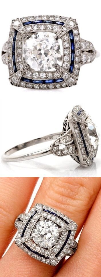 Antique Art Deco 3.30cts European-Cut Diamond & Sapphire Platinum Engagement Ring, from the 1930s.
