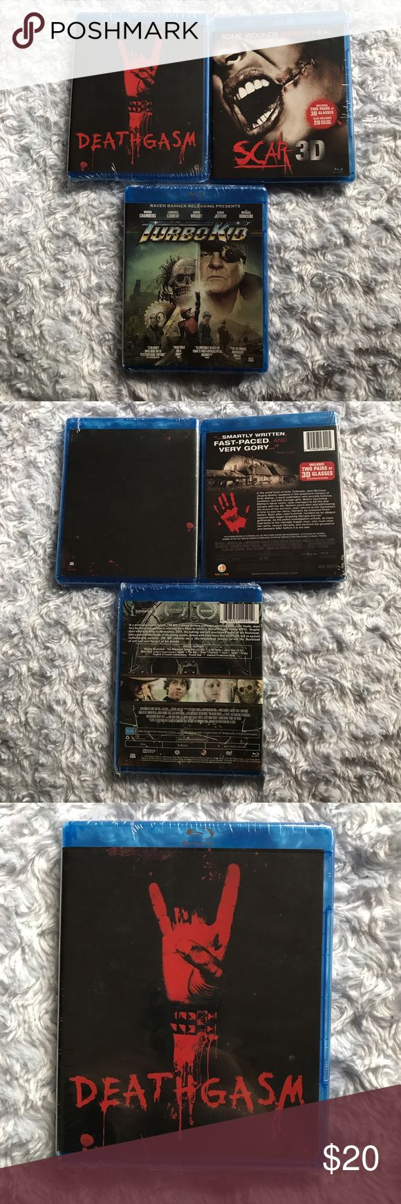 Lot of 3 Horror Movies on Bluray Brand new and never opened, lot of three horror movie blurays. Deathgasm, Scar in 3D (includes 3D glasses), and Turbo Kid. Tags: bmovie Horror block Other