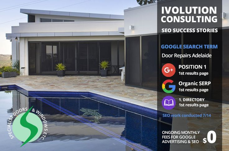 SEO Success Stories - Online Marketing Adelaide. This Door & Window Business has maintained its first page ranking for most of it's key business services for more than 12 months.