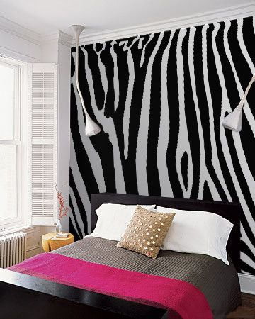 Zebra wall mural for bedroom more of a cheetah girl but love the idea for any pattern or accent
