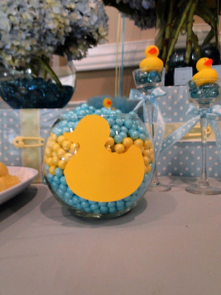 Rubber Ducky Baby Shower For Boy. Yellow And Blue Colors. Rubber Ducky Decor  Created