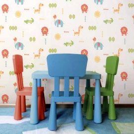 Dutch WallcoveringsCarousel kinderbehang  Prijsper rol €23,95 Afmetingen: 10M lang en 52CM breed Artikelnummer: DL21104 Patroon: 53CM Kleur: wit, oranje, geel, groen, blauw Behangplaksel: Perfax blauw Kwaliteit: papierbehang