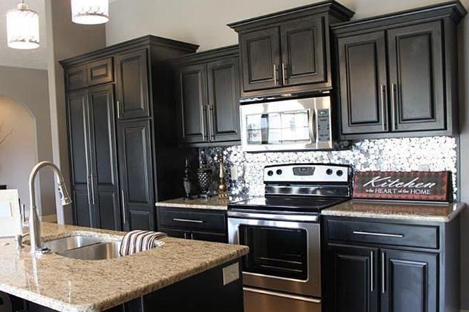 Black Kitchen Cabinets Granite Top And Silver Metallic Back Splash Gorgeous New Kitchen