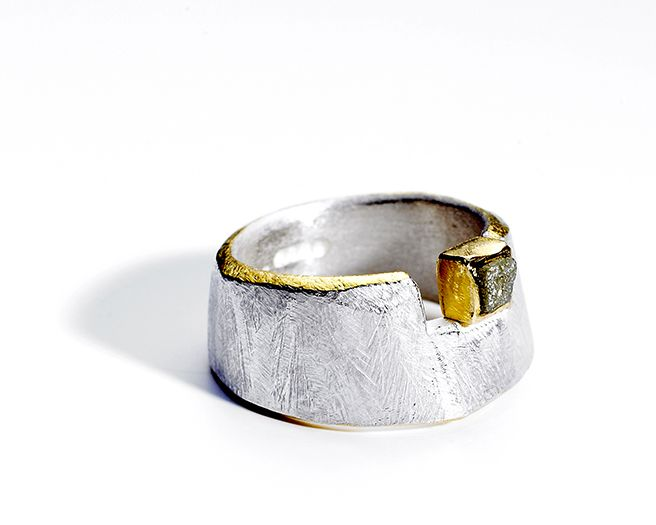 Rough Cut ring, silver, 22ct gold, fine gold kumboo, rough diamond by Tanja Ufer.