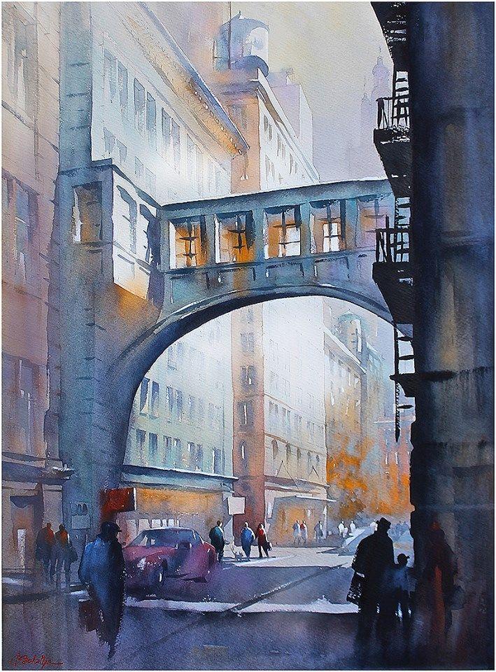 "thomas w. schaller - watercolor artist ""lower west side -nyc"" thomas w schaller watercolor 30x22 inches 12 november 2013"